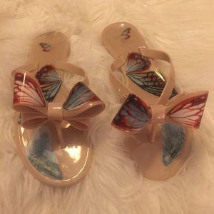 Dizzy Double Bow Tan Flip Flops w/Butterflies